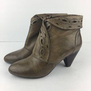 Miz Mooz Dark Greenish Brown Leather Booties Sz 8